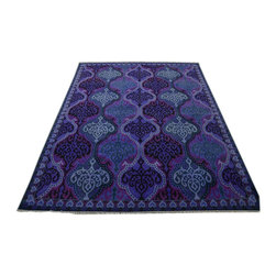 Modern Cotton Agra Mughal Empire Style Purple 9'x12' Hand Knotted Rug SH14022 - Our Modern & Contemporary Rug Collections are directly imported out of India & China.  The designs range from, solid, striped, geometric, modern, and abstract.  The color schemes range from very soft to very vibrant.