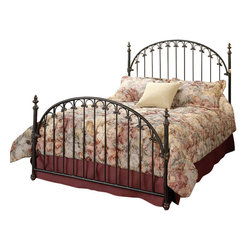 """Hillsdale Furniture - Hillsdale Kirkwell King Metal Bed in Brushed Bronze - The classic style of the Kirkwell Bed features a traditional arch design with straight spindles that are connected by solid """"C"""" shaped castings."""