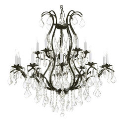 "The Gallery - Wrought Iron Chandelier Crystal Chandeliers Lighting H36"" X W36"" - A Great European Tradition. Nothing is quite as elegant as the fine crystal chandeliers that gave sparkle to brilliant evenings at palaces and manor houses across Europe. This beautifully unique version from the Versailles Collection has 100% Crystal that capture and brilliantly reflect the light of the candle bulbs. The frame is all wrought iron, adding the finishing touch to a wonderful fixture. The timeless elegance of this chandelier is sure to lend a special atmosphere anywhere its placed! Please note this item requires assembly. This item comes with 18 inches of chain. size: H36"" x W36"" 15 LIGHTS. Lightbulbs not included               Please note, when you purchase an item from the Gallery you can be assured of the ""Gallery 4 Points of Confidence"" : 1. Each item comes with a Certificate of Authenticity, certifying this product is an authentic Gallery lighting fixture. 2. Each item comes with a Gallery backed warranty (Established 1969). 3. Each item will include Gallery verified and approved diagram and instructions. 4. Each purchase is provided with a toll free number for free Gallery tech support."