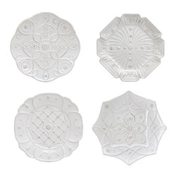 Jardins Du Monde Dessert Plate - Set of 4 - Whitewash - Indulge in the prettiest set of dessert plates on the market. The Jardins Du Monde set of 4 plates each come with an elegant yet unique pattern on each plate. Not quite round yet not quite square, these plates while not identical, compliment each other perfectly. Serve your best recipes for goodies and sweets to your most loved guests using these new elegant dessert plates.