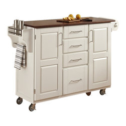 Home Styles - Home Styles Create-a-Cart in White Finish with Oak Top - Home Styles - Kitchen Carts - 91001026G - Home Styles Create-a-cart in a white finish with a 3/4 inch oak finished wood top features solid wood construction, and 4-Utility drawers; 2 cabinet doors open to storage with adjustable shelf inside; Handy spice rack with Towel bar; Paper Towel holder; Heavy duty locking rubber casters for easy mobility and safety. Size: 48w 17.75d 35.5h. Assembly required.