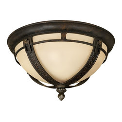 Hinkley Lighting - Hinkley Lighting Key West Traditional Outdoor Flush Mount Ceiling Light X-BR3161 - Ideal for those who want a more elegant look to compliment their tropical getaway, this Hinkley Lighting outdoor flush mount ceiling light features buckle-like accents at the top of each column, which also features basket-weave detailing for added visual interest. The Regency Bronze finish highlights the cast aluminum construction while an antiqued vanilla glass creates warmth and appeal.