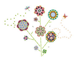 """WallPops - Flower Power Wall Art Decal Kit - The WallPops Flower Power wall art kit brings bohemian happiness to any space. Blossom a garden of kaleidoscope flowers and butterflies with these beautiful wall decals. Flower Power Kits are printed on two 17 1/2"""" x 39"""" sheets, and contain 116 pieces. Flower Power Kits are repositionable and totally removable."""