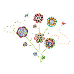 "WallPops - Flower Power Wall Art Decal Kit - The WallPops Flower Power wall art kit brings bohemian happiness to any space. Blossom a garden of kaleidoscope flowers and butterflies with these beautiful wall decals. Flower Power Kits are printed on two 17 1/2"" x 39"" sheets, and contain 116 pieces. Flower Power Kits are repositionable and totally removable."