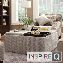 Inspire Q - Inspire Q Avenue Grey Bracket Chain Tray Top Storage Cocktail Ottoman - This Avenue Collection ottoman feature lids that come off to reveal spacious storage compartments and, for cocktail hour, the lids invert to form a four-section coffee table. This cocktail ottoman is the perfect accent piece to brighten any room.