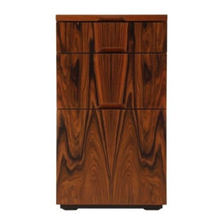 Skram Furniture - Wishbone 3-Drawer Cabinet by Skram Furniture - The Skram Furniture Wishbone 3-Drawer Cabinet is narrow but deep, ideal as a file cabinet tucked underneath a Wishbone desk or arranged in multiples to create a custom console along a wall. It is made out of hand bookmatched hardwood veneer with solid wood edging. With their integral recessed pulls, the drawers glide smoothly along concealed, soft-closing runners. Skram Furniture Company was founded in 2001 by A. Jacob Marks to change the meaning of American craftsmanship by pairing it with contemporary furniture design. The combination of natural materials, sustainable practices and exquisite workmanship have resulted in a versatile modern furniture collection appreciated worldwide. All Skram furniture and home accessories are designed and manufactured in the Piedmont region of North Carolina.