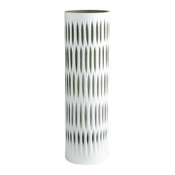 Cyan Design - Marquise Vase Collection, Large - The Marquise Vase Collection is charmingly dramatic with a vintage flare. Crafted of glass with white and smoke finishes, these modern vases have the perfect mix of masculine and feminine touches. The Marquise Vase Collect has a simple cylinder shape with breaks of color from the lattice like cutouts that adorn each vase. Choose one for an exceptional accent piece, or group them together for a classic collection. Fill them with seasonal flowers or greenery, or use them as a focal point in a centerpiece arrangement.
