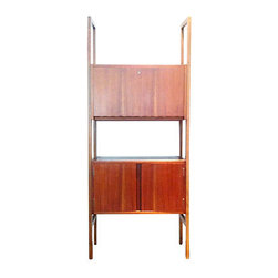 Mid Century Scandinvian Wall Unit - Scandinavian-style mid century wall unit featuring two storage units. Clean lines. Cabinet above is an elegant pull down desk/secretary. Cabinet below opens with left/right panels and boasts a removable shelf inside. This piece is perfect for use as a bar. Free pickup is offered. Delivery in NYC area also available.
