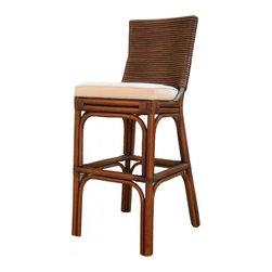NPD (New Pacific Direct) Furniture - Kona Barstool (Set of 2) by NPD Furniture, Brown Wash, Counter Height - Beautifully crafted, the Kona barstool (Set of 2) exudes natural elegance. The legs are crafted from rattan, and the back consists of woven rattan and fabric seat.
