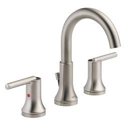 """Delta - Delta 3559-SSMPU-DST Trinsic Widespread Bath Faucet w/ Pop-Up (Stainless Steel) - Delta 3559-SSMPU-DST Trinsic Widespread Bath Faucet with pop-up (Stainless Steel). The Delta 3559-SSMPU-DST is part of the Trinsic Series. This two handle widespread lavatory faucet comes with a metal pop-up drain assembly, an adjustable 4"""" to 16"""" centered installation, and a 5"""" long 7-3/4"""" tall rigid spout. The lever handles allow you to have precise volume and temperature control, and it comes with 3/8"""" O.D. straight PEX supply tubes. It has a 1.5 GPM flow rate, and comes in a classic, Stainless Steel finish."""