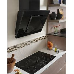 """Jenn-Air® Ventilation Options - This Jenn-Air® 36"""" Glass Collection Island-Mount Canopy Hood elegantly """"floats"""" above a cooktop or rangetop placed in an island. It offers a 600-CFM blower, LCD-display controls and an innovative sound silencing system."""