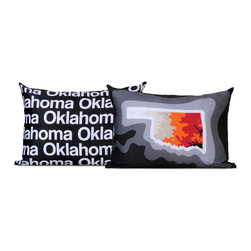 "Cartoloji - Oklahoma Map Pillow, Charcoal - The pillow features a topographical map of the state on the front and the state name text on the reverse. Pillow cover is made from 100%  certified organic cotton sateen and is printed with eco-friendly inks. Pillow insert is a non-allergenic faux-down poly-fill. Pillow dimensions: 17"" x 17"". Hand wash or dry clean. Made in the USA. Listing is for 1 double sided pillow."
