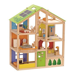 Hape - Hape All Seasons Wooden Dollhouse, Furnished - There are as many ways to play with this house as there families in the world. Six rooms, moveable stairs, and a reversible winter/summer-themed, solar-paneled roof inspire year-round activities. Includes four room sets: master bedroom, family bathroom, media room and kitchen.
