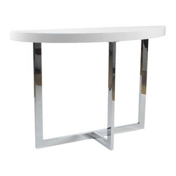Eurostyle - Eurostyle Oliver Half Moon Console Table in White Lacquer & Chrome - Half Moon Console Table in White Lacquer & Chrome belongs to Oliver Collection by Eurostyle Oliver Console Table has a unique design style. Half oval top and half angular X-shaped base give this contemporary table an unusual look that will be a modern addition to your home's decor. This modern table features 1/2 X-shaped chromed steel base, 1/2 walnut thick oval wood top or high gloss white top. Unique and study make this console table suitable for any entertaining place. Features Veneered walnut or high gloss white top Chromed steel frame. Table Base (1), Table Top (1)