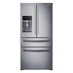 """Samsung - RF28HMEDBSR 36"""" French Door Refrigerator with 4 Doors  28 cu. ft. Ultra Large Ca - This large capacity 2815 cu ft Samsung 4 door French Door refrigerator stores up to 28 bags of groceries and helps keep your food fresher longer with Twin Cooling Plus technology Ice Master ice maker produces an incredible 10 lbs of ice per day Enjoy..."""