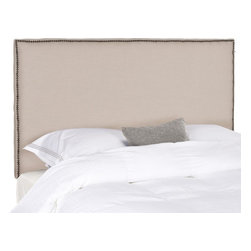 Safavieh - Jennifer King Headboard - Choose the Jennifer king headboard for the tailored luxury of pure linen fabric in neutral taupe over thick padding for true comfort. Offering clean lines for contemporary or transitional interiors, the Jennifer headboard features brass nail head trim.