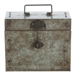 Kathy Kuo Home - Antique Galvanized Steel Industrial Large Hinged Box - Reminiscent of old army equipment, where flashlights and matches would be stored while out on the frontlines, this large iron hinged box has a no nonsense look and feel. It also offers great storage for remote controls and other clutter.  Vintage and industrial fans will be most pleased.