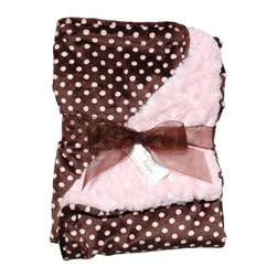 Belle & June - Baby Blanket, Light Pink and Polka Dot - She may love ballet but she may also love trucks; same with dolls and dragons. Whatever the baby grows up to love, she'll always cherish this adorable brown and pink cozy blanket.