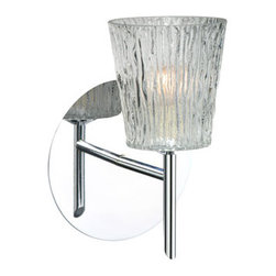 Besa Lighting - Nico Chrome One-Light Halogen Wall Sconce with Clear Stone Glass - - Clear Stone is a clear blown glass with an outer texture of coarse sandstone. Inspired by the elements of nature, the appearance of the surface resembles the beautiful cut patterning melting ice over a rock formation. This blown glass is handcrafted by a skilled artisan, utilizing century old techniques that have been passed down from generation to generation. Each piece of this d�cor has its own artistic nature that can be individually appreciated.  - Bulbs Included  - Shade Ht (In): 3.75  - Shade Wd/Dia (In): 3.5  - Canopy/Fitter Ht (In): 5  - Canopy/Fitter Dia/Wd (In): 5  - Title XXIV compliant  - Primary Metal Composition: Steel  - Shade Material: Glass  - NOTICE: Due to the artistic nature of art glass, each piece is uniquely beautiful and may all differ slightly if ordering in multiples. Some glass decors may have a different appearance when illuminated. Many of our glasses are handmade and will have variances in their decors. Color, patterning, air bubbles and vibrancy of the d�cor may also appear differently when the fixture is lit and unlit. Besa Lighting - 1SW-512500-CR