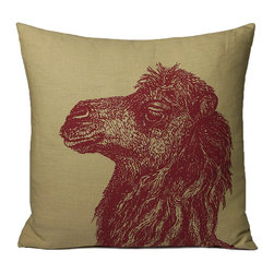 Kevin O'Brien Studio - Animal Friends Camel Pillow, Red/Wheat - These animals, illustrated by Kevin O'Brien, provide a pop of intrigue to any interior; design on front only; zip closure; comes with a feather/down insert