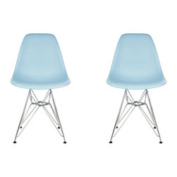 Ariel - Set of 2 Eames Style DSR Light Blue Dining Shell Chair w/ Steel Eiffel Legs - Great looking, sturdy, and comfortable, this set of 2 Eames Style DSR Molded Light Blue Plastic Dining Shell Chair with Steel Eiffel Legs will beautifully compliment your rustic dining table, your mid-century furniture, or any indoor or outdoor theme. The contoured seats naturally fit the body to provide years of seating enjoyment.