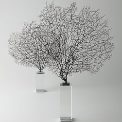 """Arteriors - Arteriors Two """"Corrine"""" Coral Sea Fan Sculptures - Intricately detailed as only nature can achieve, these lacy sea fans bring the beauty of the ocean into your home. Handcrafted of natural coral, metal, and crystal. Set of two. Small, approximately 13""""W x 2""""D x 14""""T. Large, 13""""W x 2""""D x 18""""T. Natural..."""