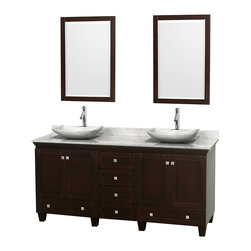 Wyndham Collection - Acclaim Bathroom Vanity in Espresso,White  Carrera Marble,White Sink,Mirror - Sublimely linking traditional and modern design aesthetics, and part of the exclusive Wyndham Collection Designer Series by Christopher Grubb, the Acclaim Vanity is at home in almost every bathroom decor. This solid oak vanity blends the simple lines of traditional design with modern elements like beautiful overmount sinks and brushed chrome hardware, resulting in a timeless piece of bathroom furniture. The Acclaim is available with a White Carrera or Ivory marble counter, a choice of sinks, and matching mirrors. Featuring soft close door hinges and drawer glides, you'll never hear a noisy door again! Meticulously finished with brushed chrome hardware, the attention to detail on this beautiful vanity is second to none and is sure to be envy of your friends and neighbors