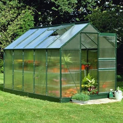 Halls Popular Green 6 x 10-Foot Greenhouse Kit - Additional Features 4mm thick double-walled panels Includes aluminum or plastic strips to attach to the ends Strips prevent objects getting stuck between the layers UV resistant coating protects your plants 2 roof vents for ample ventilation Beautiful green frame accents the greenhouse Includes a base which adds 5-inches to the height Door measures 24W x 64H inches Sidewall measures 4 feet Peak height measures 6.5 feet Measures 6W x 10L x 6.5H feet You'll love having plants flowers and fresh vegetables all year round with the Halls Popular Green 6 x 10-foot Greenhouse kit. Quite spacious with 62 square feet of growing space you won't have to worry about running out of room. The greenhouse is made with 4mm thick double-walled panels that have a polycarbonate glaze to diffuse the light and a protective UV resistant coating to keep your plants from getting burned. The two roof vents allow for ample air flow to ensure the health of your plants. Lightweight and virtually unbreakable the Halls Popular Greenhouse features plastic or aluminum strips that attach to the ends and prevents dirt bugs and other foreign objects from getting stuck between the panels. The green frame adds a beautiful accent to this greenhouse that will look great in any yard. The greenhouse kit includes a base which adds 5-inches to the height. Assembly is a weekend project for one or two people. About The Greenhouse Connection LLCThe Greenhouse Connections was established in 1993 to connect gardeners who are looking for a well-made traditional English greenhouse with Halls Garden Products Ltd. of England the world's leading manufacturer of hobby greenhouses. By networking with a variety of people and companies including independent garden centers nurseries mail-order garden and seed catalogs and greenhouse supply companies The Greenhouse Connection does just that. Their offices are located in Grant Pass OR.
