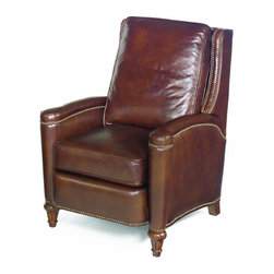 Hooker Furniture - Leather Recliner w Cushioned Seat and Back - Classic and elegant with a generously padded seat and back cushion, this cocoa brown leather upholstered recliner will be a refined addition to your home's decor. Perfect for a den or study, the handsome chair has a hardwood frame for enduring beauty and has nailhead detailing for added visual interest. Cushion seat. Made from leather upholstery. 38.5 in. L x 30.25 in. W x 40.25 in. H (116 lbs.). Dimensions when Fully Reclined: 59.5 in. L. Seat Dimensions: 20.5 in L x 18 in. W