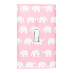 Slightly Smitten Kitten - Elephant Nursery - Handmade light switch plates are a fun and creative way to add the perfect finishing touch to your child's room or baby nursery!  This light switch plate features adorable white elephants on a pink background!