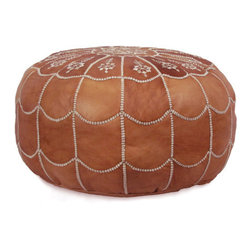 Ikram Design - Moroccan Leather Pouf, Dark Tan, Arch Design - Arch designed poufs are stylish and beautiful, These Moroccan poufs will fit seamlessly into any d̩cor and they're sure to delight every member of the household. They are great for kids rooms, your bedroom, or even the office; the arch-designed pouf is elegant and offers a great addition to any home. Because they are available in many colors, we are sure you will find one that takes your fancy right away, They come pre-stuffed with filling fiber.