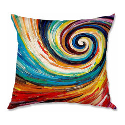DiaNoche Designs - Pillow Woven Poplin - Lam Fuk Tim Spiral II - Toss this decorative pillow on any bed, sofa or chair, and add personality to your chic and stylish decor. Lay your head against your new art and relax! Made of woven Poly-Poplin.  Includes a cushy supportive pillow insert, zipped inside. Dye Sublimation printing adheres the ink to the material for long life and durability. Double Sided Print, Machine Washable, Product may vary slightly from image.