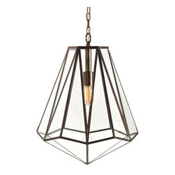 """Arteriors - Edmond Pendant by Arteriors - A mid-century modern jewel of a lighting fixture. The Arteriors Edmond Pendant has a multi-faceted form comprised of panels of Clear glass set in an Antique Brass-finished metal frame. This hexagonal pendant really sparkles with the warm light cast by the exposed inner light source.Since 1987, Texas-based Arteriors has paired timeless concepts with a nod to the latest looks, offering home lighting with unique character and enduring presence. The lighting from Arteriors is ideal for both transitional interiors and modern homes, capturing a flavor that reflects the trends and traditions of lighting design across the world.The Arteriors Edmond Pendant is available with the following:Details:Clear glass shadeMetal frameAntique Brass finishCeiling canopy included36"""" suspension chainAccepts energy efficient fluorescent lampingUL ListedLighting:One 100 Watt 120 Volt Type E26 Incandescent lamp (not included), or one 100 Watt 120 Volt Type E26 Fluorescent lamp (not included).Shipping:This item usually ships in 5 days."""