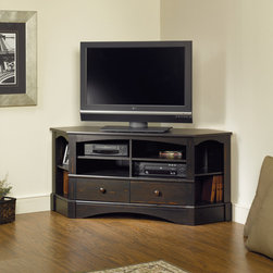 Harbor View Corner Entertainment Credenza - Two adjustable shelves hold audio/video equipment. Two adjustable corner display shelves. Drawers with metal runners and safety stops feature patented T-lock assembly system. Grommet hole for cord management. Antiqued Paint finish.