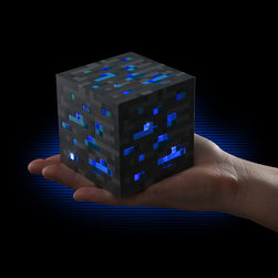 Minecraft Light-Up Diamond Ore - Perfect for a desktop or bedside table, this light-up diamond ore block emits low, medium or bright light levels with just a tap.
