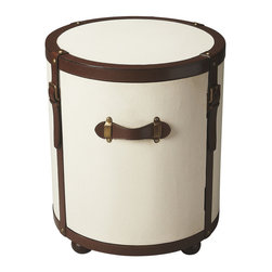 Butler Specialty - Butler Montana Leather and Canvas Duffel Table - Fusing fashion and function, this Drum Table is covered with white canvas with brown leather trim, straps and handles, matching bun feet, and complementary antique brass-finished hardware.