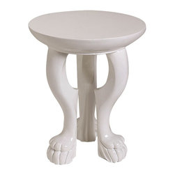 Arteriors - White Lola Accent Table - You'll appreciate the compact footprint of this three-legged, claw-footed occasional table because it allows you to place it just about anywhere. A glossy white lacquer finish provides the perfect backdrop to show off bold accent pieces.
