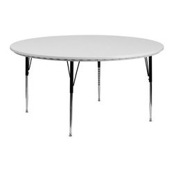 60 in. Round Adjustable Height Gray Activity Table - The 60 in. Round Adjustable Height Gray Activity Table can be used for a wide range of activities in the classroom or at home. It's a waterproof and stain-resistant round blow-molded table designed to last for years and years. Kid durable to resist stains and damage from food juices and crayons. Table top is 1.75 in. thickness. This lightweight table has an adjustable height range to accommodate all users. Self-leveling floor glides on the black powder-coated upper legs and chrome lower legs prevent wobbling and will keep your work surface level. Dimensions: 60 in. diameter. Available in 2 adjustable height ranges: Standard 21.25-30.25 in. height range or Pre-school 16.25-25.25 in. height range. About Flash FurnitureFlash Furniture prides itself on fine furniture delivered fast. The company offers a wide variety of office furniture whether for home or commercial use. Leather reception seating executive desks ergonomic chairs and conference room furniture are all available to ship within twenty-four hours. High quality at high speeds!