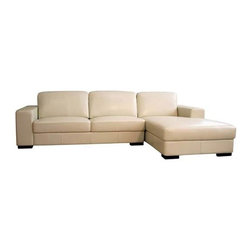 Wholesale Interiors - Baxton Studio Cream Leather Sofa - 3022-050-sectional Crea - This beautiful classic cream sofa/chaise will be a great addition to your living or family room. The comfort level of this sofa/chaise is very high, which makes it great for watching television, reading, or simply sitting around.