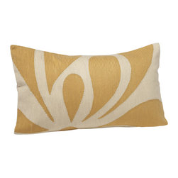 "Crewel Fabric World - Crewel Pillow Petal White on Yellow Cotton Duck 16X26 Inches - Abstract petals in bold shapes give our lumbar pillow the impact of an art piece. 16 x 26"" Thousands of tiny hand-worked crewel stitches cover pillow front. Hidden-zipper closure; knife edges. Insert sold separately. Imported. Features 100% cotton cover is embroidered with acrylic thread. Hidden-zipper closure. Care Machine wash in cold water on gentle cycle. Use only nonchlorine bleach, if needed. Tumble dry; remove promptly. Warm iron as needed."