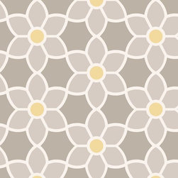 Brewster Home Fashions - Blossom  Grey Geometric Floral Wallpaper Swatch - Dress walls in a fabulously smart wall covering of a contemporary floral geometric. A simple grey white and yellow palette makes this dynamic design move exquisitely across a room.
