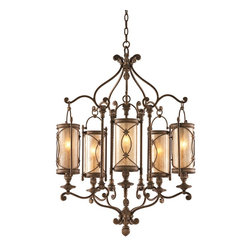 "Corbett - Valais Collection 27"" Wide Chandelier - Named for the popular Swiss skiing resort with rustic luxury the Valais Collection is wonderfully deluxe. This hand wrought iron fixture has intricate detail that gives it a light airy quality. The tea stain glass diffuses the light in a wonderfully warm nuanced way. A bronze finish gives the iron a natural classic appeal. Bronze finish. Tea stain glass. Hand wrought iron. Takes five 60 watt candelabra bulbs (not included). 27"" wide. 36"" high.  Bronze finish.  Tea stain glass.  Hand wrought iron.  Takes five 60 watt candelabra bulbs (not included).  27"" wide.  36"" high."