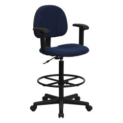 Flash Furniture - Flash Furniture Navy Blue Patterned Fabric Ergonomic Drafting Stool - Drafting stools can be used in a multitude of environments including School, Work and for the Home. Not only is this chair great for drafting and regular office assignments it is also useful for people with disabilities who need a higher chair. Drafting stools make it easier for the user when they need or prefer more height to comfortably get in and out of chairs. This chair will satisfy your needs at an affordable price that can't compare! [BT-659-NVY-ARMS-GG]