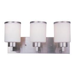 Joshua Marshal - Three Light Brushed Nickel White Glass Vanity - Finish: Brushed Nickel