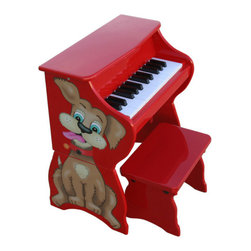 "Schoenhut - 25 Key Doggy Piano & Bench in Red - The award winning 25 Key Doggy Piano & Bench in Red is elegantly designed, yet durable and sturdy. It is easy to understand play-by-color teaching method and included song book combine to create a fantastic patented learning, system that has been designed to build a child's confidence and develop basic playing skills. With a beautiful design and education function, the 25 Key Doggy Piano & Bench in Red is a must have in any home! Features: -25 key dog piano with bench. -Ideal for ages 3 and up. -Thirty key, two and a half - octave keyboard. -Song book included. -Chromatically tuned using little hammers striking precision - ground German steel music rods. -Removable color strip fits behind keys for play - by - color teaching method. -Enhances memorization and musical note reading skills. -Adult - sized keys help child learn proper ""finger stretch"". -No tuning necessary. -Awarded ""Smart Play - Smart Toy"" by Dr. Toy. -Available separately in Lavender, Pink, Red, Blue and Green. -Color: Red. -Dimensions: 12"" H x 12"" W x 17"" D, 20 lbs."