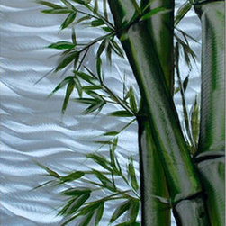Pure Art - Bamboo Shoots Handcrafted Metal Wall Art - Add a tropical flavor to your home decor by hanging this opulently crafted and professionally hand painted metal wall hanging! The Bamboo Shoots Handcrafted Metal Wall Art features beautiful bamboo shoots in realistic detail, their budding foliage precise down to the last leaf.  For a startling effect, the bamboo is then set upon a sea of shimmering silver for a standout look that is nothing short of phenomenal.  Hang this piece wherever you wish to bring an air of mystery to your space, from the den to the living room and beyond. Adds lavish beauty to any room, particularly those that feature a tropical or jungle theme.Made with top grade aluminum material and handcrafted with the use of special colors, it is a very appealing piece that sticks out with its genuine glow. Easy to hang and clean.