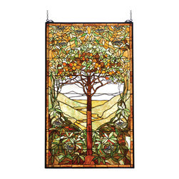 """Meyda - 29""""W X 48""""H Tiffany Tree Of Life Stained Glass Window - Meyda's interpretation of louis comfort tiffany'stree of life window is made using 1539 pieces of handcut glass individually wrapped in copper foil. Abeautiful selection of stained art glass in neutraltones of earth browns, verdant and mottled greens andrusset oranges were hand selected to create thismasterpiece. A solid brass hanging chain and bracketsare included."""