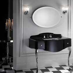 Vanities, Washstands, Pedestals... - The Miami vanity unit from Devon & Devon catches the essence of the typical lines of 1930s American Art Deco. The soft form of the legs, crafted of fused aluminum, contrast with the profile of the vanity unit in black lacquered wood. The vanity is embellished with a black Belgium marble surface and a backsplash with diamond-cut borders, as well as crystal knobs that decorate the two drawers. The unit is available in deep black, warm gray, pure white, cream, blue violet and red, while the legs are available with light gold and polished nickel finishes.