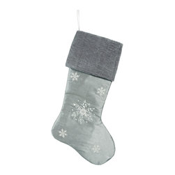 Winward Designs - Snowflake Stocking - A rare design, this christmas stocking is only one out of 4 different one-of-a-kind stockings in our collection. Premium quality guaranteed.