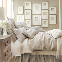 "Callisto Home - Callisto Home King Lace-Motif Duvet Cover, 110"" x 98"" - Made of pure linen and embroidered with a lace motif, natural and ivory ""Glory"" bed linens are by Callisto Home. Dry clean. Imported. We added Lili Alessandra's ""Battersea"" quilted coverlet and sheer ruffle pillow. Both of polyester. Machine wash. Imp..."